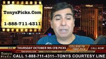 College Football Thursday Free Picks Predictions Point Spread Odds Previews 10-9-2014