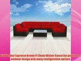 Luxxella Patio Bella Genuine Outdoor Wicker Furniture 7Piece Gorgeous Couch Sectional Sofa Set Red