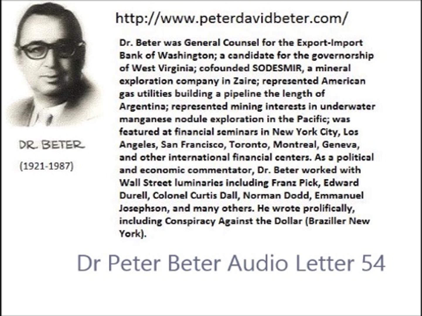 Dr Peter Beter Audio Letter 54 - February 24, 1980 - The Secret American Defeat of January, 1980; Weather Modification As a Weapon of Retaliation; Russia's Accelerating Preparations to Survive Nuclear War