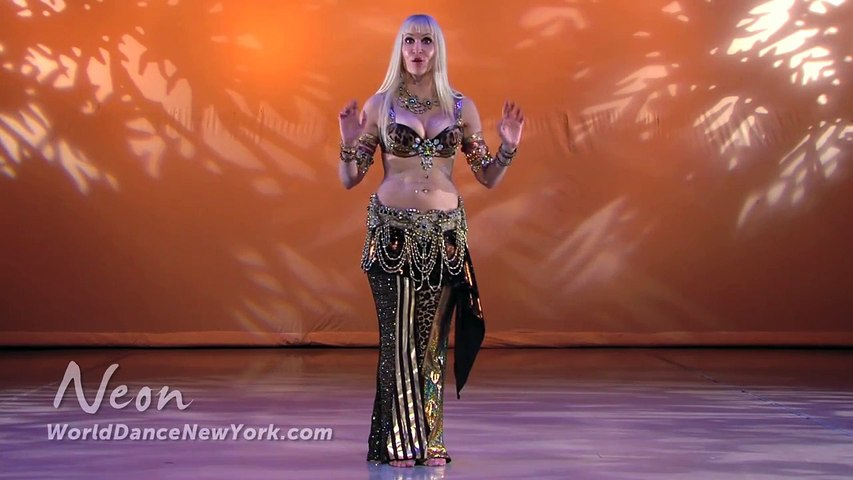 Belly Dance How to  Chest Slide & Lift Moves - Belly Dancing - with Neon