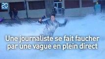 Une journaliste se fait faucher par une vague en plein direct