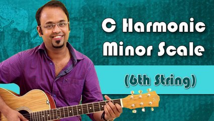 How To Play - C Harmonic Minor Scale (6th String) - Guitar Lesson For Beginners