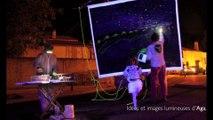 La Nuit Étoilée - Peinture nocturne sur Demoiselle - les Deltaiques 2014 - Arles, Mas Thibert - par Martine Berlioux et Philippe Monnier