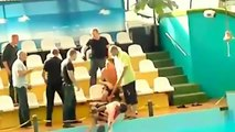 Fight Breaks Out At Russian Aquarium - Russians Fighting
