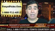 Kentucky Wildcats vs. Mississippi St Bulldogs Free Pick Prediction NCAA College Football Updated Odds Preview 10-25-2014