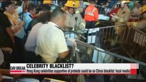 Hong Kong celebrities supportive of protests could be on China blacklist local media