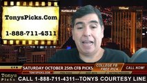 Free College Football Picks Predictions Odds Betting Point Spread Previews Saturday 10-25-2014
