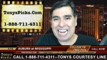 Mississippi Rebels vs. Auburn Tigers Free Pick Prediction NCAA College Football Odds Preview 11-1-2014