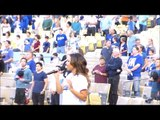 Los Angeles Dodgers_ Christina Milian sings the National Anthem