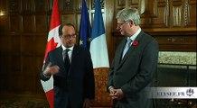 """""""C'est la première fois depuis 1987 qu'un président de la République vient dans ce grand pays ami de la France qu'est le Canada"""" #CanadaPR"""
