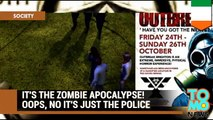 Zombie apocalypse complete with real live police officers and helicopter.