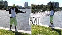 Un rappeur fait une séance photo au bord de l'eau alors qu'il y a du vent