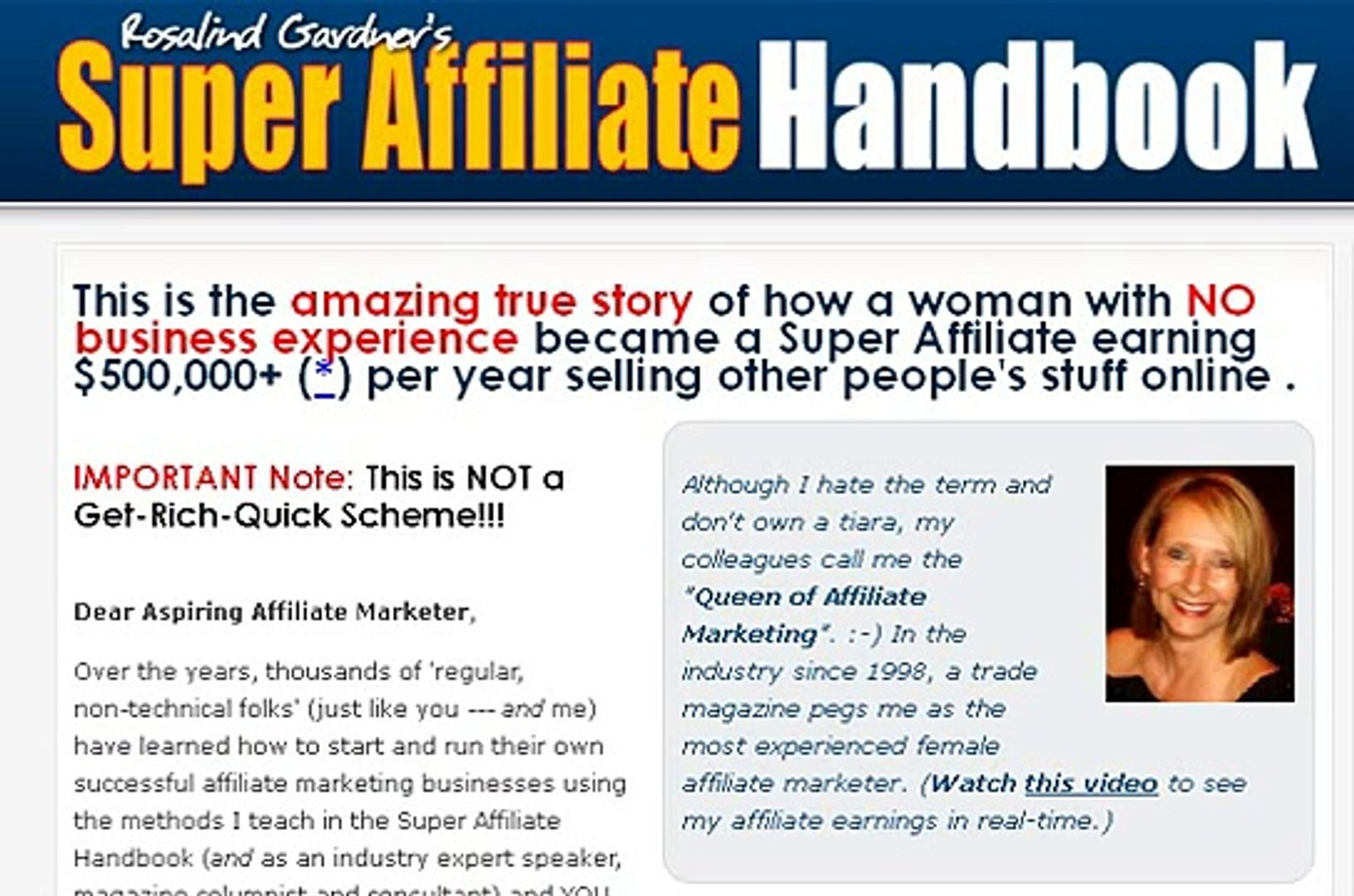 Rosalind Gardners Super Affiliate Handbook Reviews by Actual Users - video  dailymotion