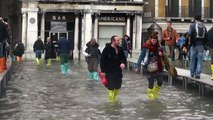 High water floods St. Mark's Square in Venice