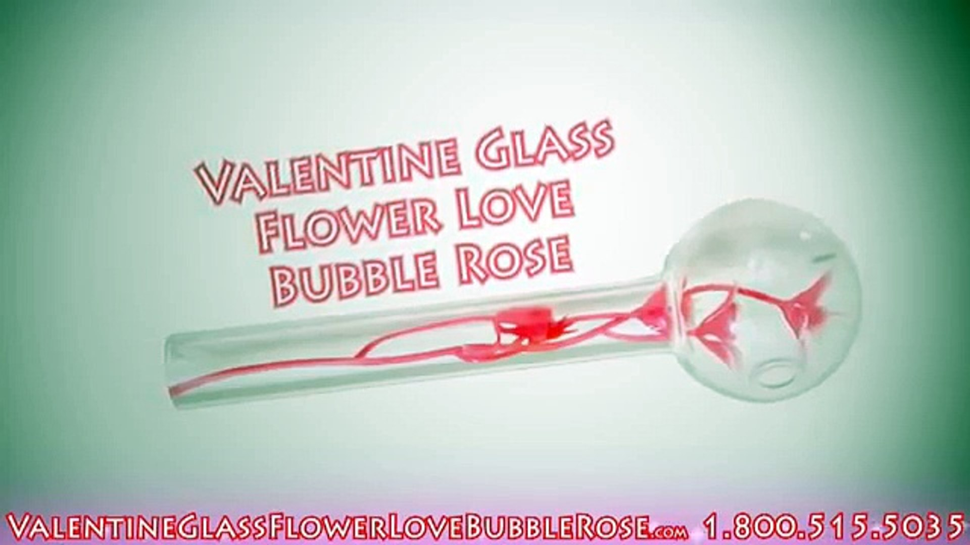 Valentine Rose Oil Burning Glass Pipes - Efficient Straight Shooter Valentine Rose Pipe with faux Ro