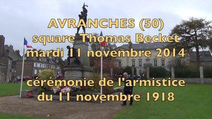 cérémonie du 11 novembre 1918 - 2014 à Avranches - square Thomas Becket