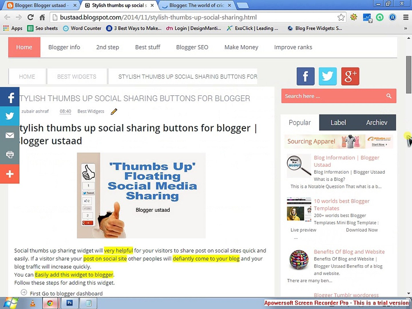 How to add social thumbs up sharing buttons in blogger