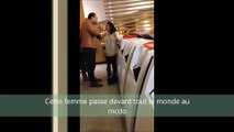 Hysterical woman loosing her mind in McDonald's and agressing a poor guy!