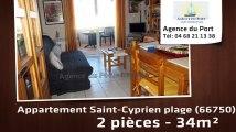 A vendre - appartement - Saint-Cyprien plage (66750) - 2 pièces - 34m²