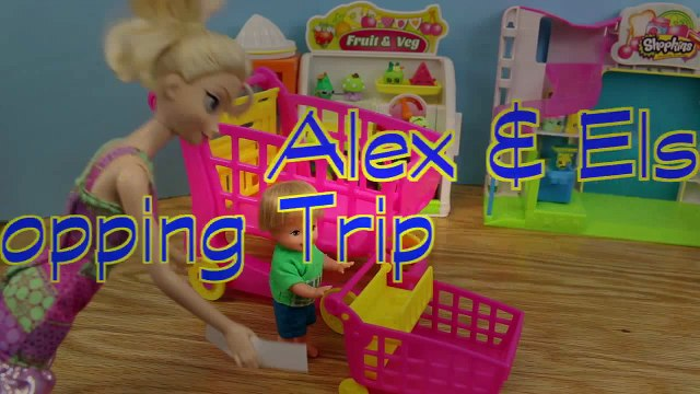 Frozen Disney Elsa and Shopkins with Frozen Kids Alex Shopping Cleans Barbie Bathroom for Shopkins
