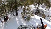 Surprise pour un motard dans un bois enneigé