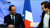 """États-Unis : le """"hug"""" de François Hollande avec les Pigeons"""