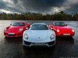 La Porsche 918 face à la Carrera GT et la 959