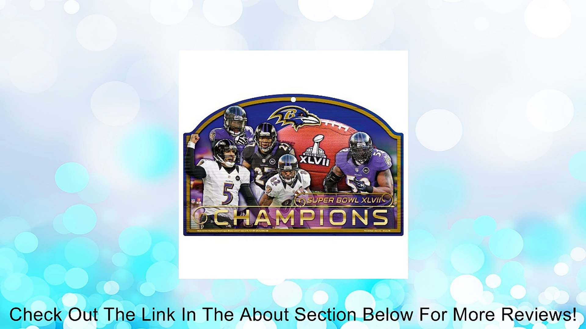 NFL Baltimore Ravens Super Bowl XLVII Champions Multiple Players 11-by-17 Wood Sign Review