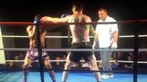 Massive KO spinning kick. Muay Thai, kick boxing