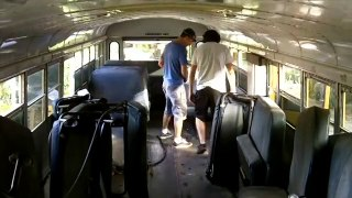 Tiny House School Bus Conversion Seat Removal