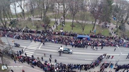 Parada militară organizată de Ziua Naţională la Suceava (filmare aeriană)