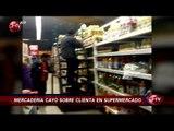 Pack de bebidas cayó sobre la cabeza de clienta en supermercado - CHV Noticias