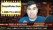 Wisconsin Badgers vs. Duke Blue Devils Free Pick Prediction NCAA College Basketball Odds Preview 12-3-2014