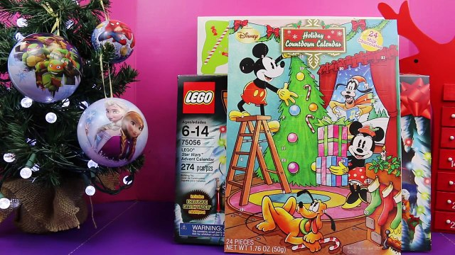 Surprise Toys Frozen Disney Elsa Spiderman Ornaments and Barbie Lego Shopkins Advent Calendar Day 3