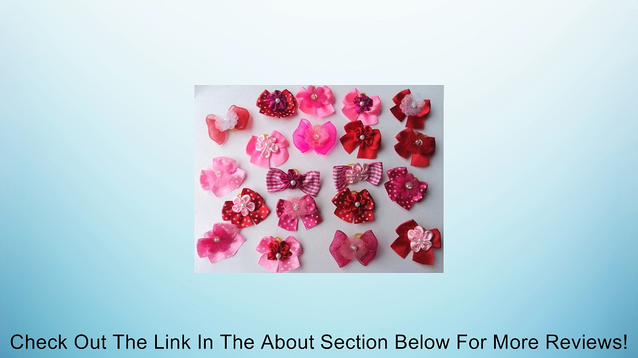 30 Valentine's Day Dog Hair Bows Collection -Hot Pink/Pink/Red with center decorated with flower Review