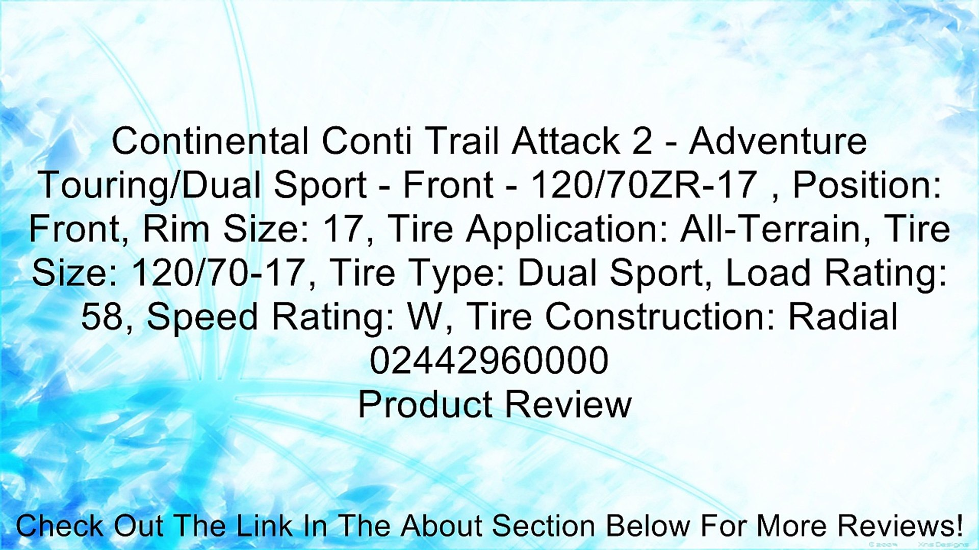 Continental Conti Trail Attack 2 - Adventure Touring/Dual Sport - Front - 120/70ZR-17 , Position: Fr