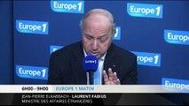 """Laurent Fabius : """"déjà 10 millions de gens déplacés en Syrie"""""""