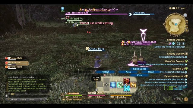 FFXIV gameplay part 1, mission Chasing Shadows, tree battle