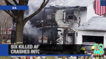 Plane crashes into house - six dead after jet crashes into home in Washington D.C. suburbs.