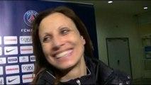 """Sarah M'Barek (""""entraîneure"""" de l'E.A. Guingamp) interviewée par Christian Estevez, à l'issue du match PSG-E.A. Guingamp, du dimanche 7 décembre 2014 à Charlety."""