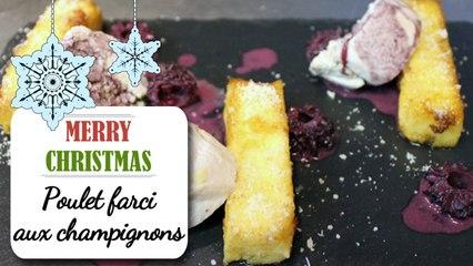 Poulet farci aux champignons et frites de polenta - Recette facile Noël