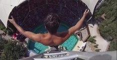 25 Metre Yükseklikten Havuza Atladı