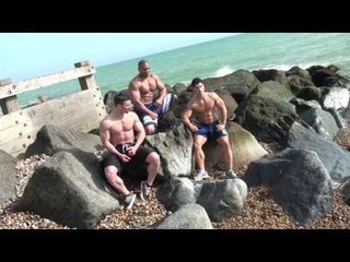 MUSCLES ON THE BEACH -- ROGER SNIPES, JAMIE ALDERTON DAN BARNETT
