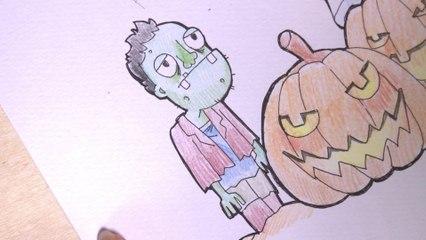 Illustration Halloween 4-5 : Appliquer les couleurs pour le Zombie