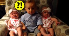 Adorably Confused Baby Meets Cute Baby Twins