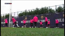 El Barcelona entrena tras el empate en Getafe