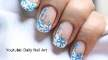 Easy Snow Nail Art - Snowflake Nails Winter Snow Nail design Let It Snow White Winter