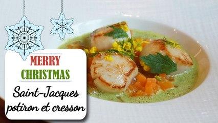 Saint-Jacques, Risotto de potiron et cresson - Recette Noël