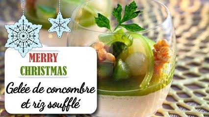 Gelée de concombre et riz soufflé au caramel - Recette Noël