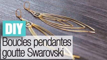Faire des boucles d'oreilles feuilles Swarovski - DIY bijoux